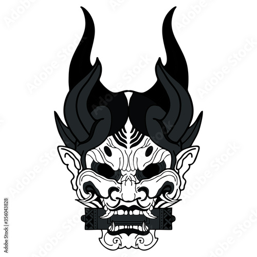 Photo mask of kabuki vector tattoo pattern japaness traditional design for illustratio
