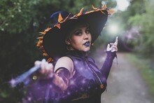 Female Wearing A Witch Makeup ...