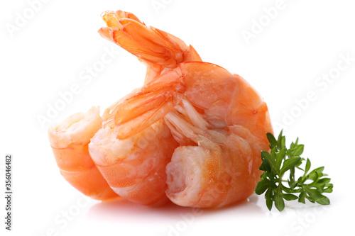 Fotomural Fresh shrimps on white background