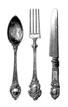 Kitchen Staff Set. Silverware. Vintage Spoon, Knif And Fork. Utensils Set.  Vector Collection Hand Drawn Illustration With Kitchen Tools. Chef And Cooking Ware, Cooking Stuff For Menu Decoration.