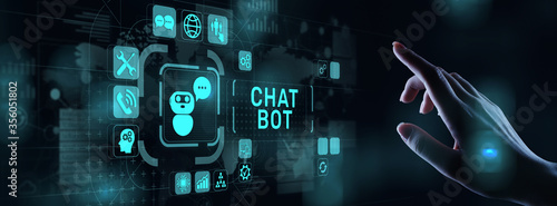 Obraz Chatbot computer program designed for conversation with human users over the Internet. Support customer service concept. - fototapety do salonu
