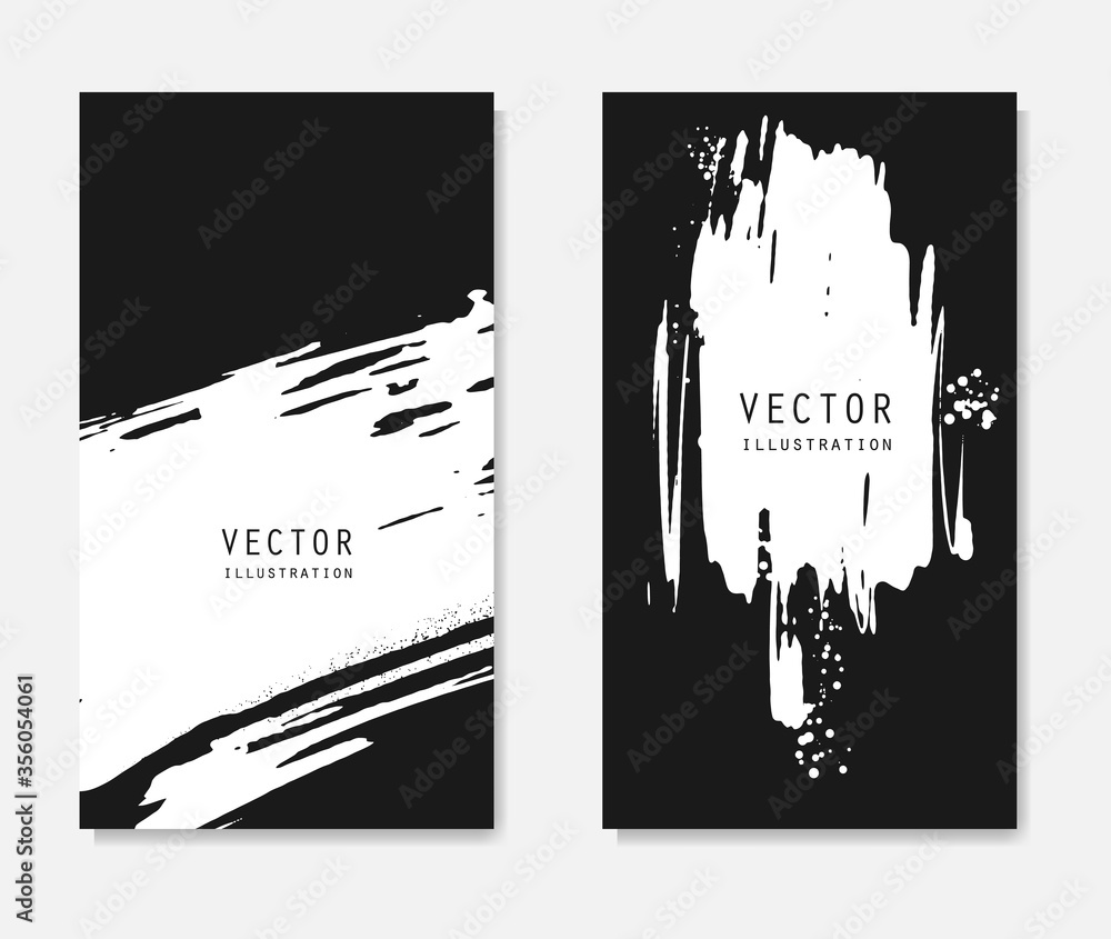 Fototapeta Abstract ink brush banners set with grunge effect
