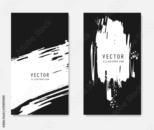 Fototapeta Abstract ink brush banners set with grunge effect obraz