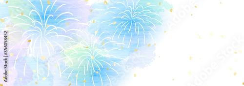 Fotografie, Obraz 優しい色合いの花火 横長の背景イラスト