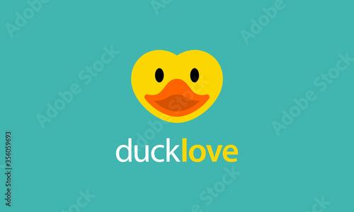 Fototapeta duck love heart logo design concept