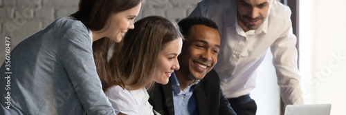 Horizontal photo banner for website header design, diverse employees gathered in Fototapete