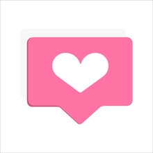 Icon With A Heart For Social Networks. Vector Illustration, Eps 10. In A Pink Frame, Bubble, White Heart. Isolated On A White Background. Concept: Mark Your Favorite Picture, Page, Comment.