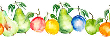 Watercolor Painting, Vintage Seamless Pattern - Tropical Fruits, Citrus, Slices Of Lemon, Orange, Mandarin, Grapefruit.apricot, Peach, Apple, Plum, Cherry Plum. Splash Of Paint Yellow, Red And Orange.