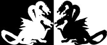 Three Heads Dragon Isolated On Black And White Background