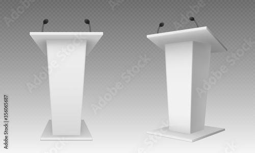 Foto White pulpit, podium or tribune front side view