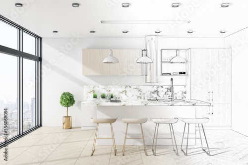 Cuadros en Lienzo Drawing loft kitchen interior with furniture
