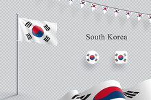South Korea Flag 3d Elements Waving Flagpole Bunting Buttons