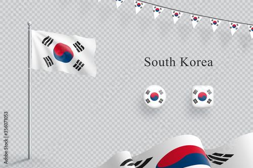 Carta da parati South Korea Flag 3d Elements Waving Flagpole Bunting Buttons