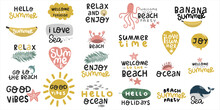 Set Of Stickers About Summer A...