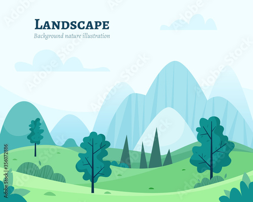 Fototapeta Nature park or forest outdoor background with trees. Flat cartoon style vector illustration. obraz