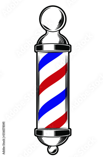 Valokuvatapetti Vector illustration of barber pole, stripes, red, white and blue stripes on a wh