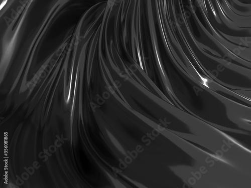 Fotografie, Obraz Metallic abstract wavy liquid background
