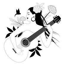 Beautiful Girl Playing Guitar ...