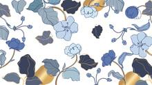 Luxury Golden  And Blue Floral Wallpaper Design Vector, Golden Rose Pattern Design Background For Wedding, Banner, Card, Cover, And Packaging Design Background. Vector Illustration.