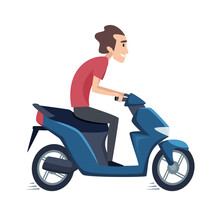 Man Ride On Scooter. Male Drives Motorbike, Isolated Flat Rider Vector Character. Illustration Drive Ride Motorbike, Male By Scooter