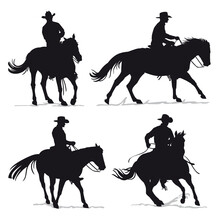 Set Of Cowboy And Horse Silhou...
