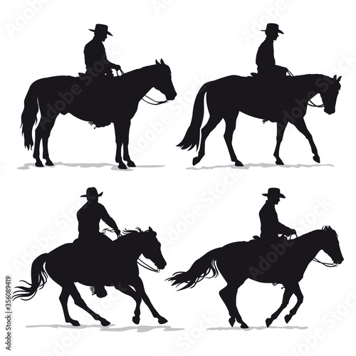 Set of cowboy and horse silhouettes - Western riding discipline Reining vector c Wallpaper Mural