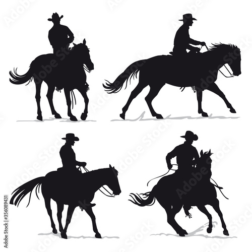 Carta da parati Set of cowboy and horse silhouettes - Western riding discipline Reining