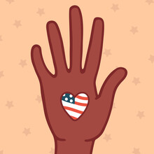 Black Lives Matter Poster Or  Banner, Love America,united States,usa Patriot Poster. Afro,   Flag, Love, Multinational,illustration Square,hand Palm, Elections, Election,democracy, Freedom,unite, Vote
