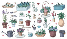 Romantic Vector Set Of Decorative Garden Elements. Big Collection Of Different Flower Pots And Flowers For Gardening And Interior. Shabby Chic Style. Vector Illustration. Pastel Colors.