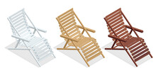 Isometric Wooden Deck Chairs, Lounge Sun Chair Isolated On White Background. Set Of Wooden Reclining Chairs