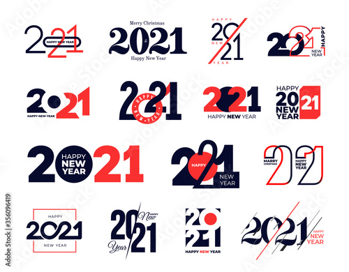 Obraz Set of logo 2021 Happy New Year signs. Big collection of 2021 Happy New Year symbols. Greeting card artwork, brochure template. Vector illustration with holiday labels isolated on white background. - fototapety do salonu