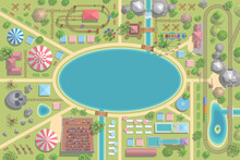 A Vector Illustration Of Amusement Park Map. (Top View) Attractions, Paths, Lake, Railroad, Circus, Trees, Plants, Tents. (View From Above)