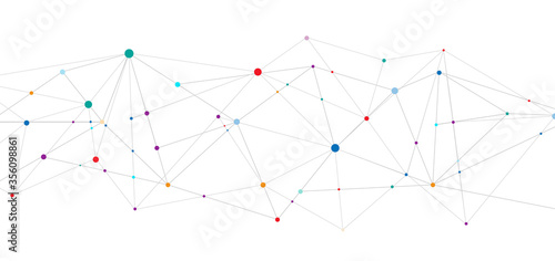 Fototapety, obrazy: Abstract technology connect concept geometric connecting dots and lines on white background