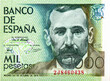 Benito Perez Galdos (1843 - 1920), Spanish realist novelist, painted by Joaquin Sorolla in 1894.Portrait from Spain 1000 Pesetas 1979 Banknotes. Collection.