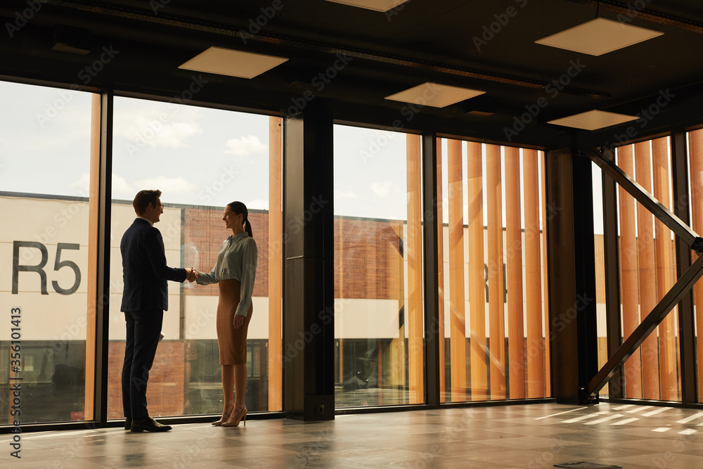 Fototapeta Wide angle view of real estate agent shaking hands with client while standing in empty office building interior lit by sunlight, copy space