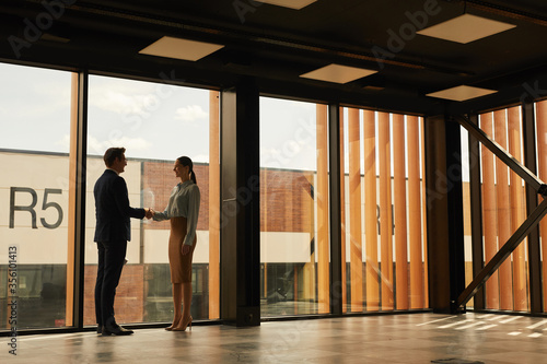 Fototapeta Wide angle view of real estate agent shaking hands with client while standing in empty office building interior lit by sunlight, copy space obraz