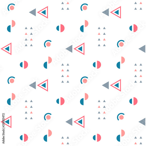 Fototapeta Geometric seamless pattern. Abstract geometric background with circles, triangles. Repeating texture. Vector illustration. obraz