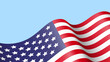 Waving flag of United States of America on blue background . 3D vector illustration .