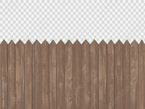 Leinwand Poster Wooden blank fence template. Isolated on a transparent background