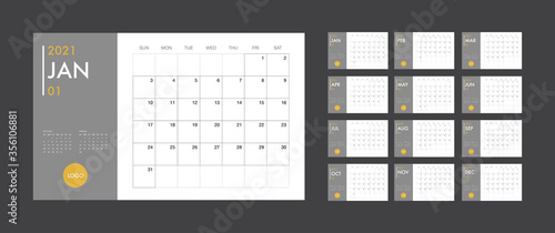 Calendar 2021 template planner vector diary in a minimalist style Canvas Print