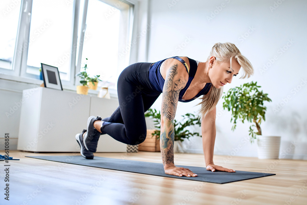 Fototapeta Athletic woman doing climber exercise during home workout