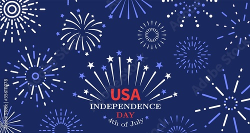 4th of july. Freedom fireworks, usa independence day poster. American liberty, united states national festive invitation vector background. Usa independence 4th july, celebration poster illustration - 356111078