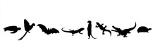 Collection Of Vector Silhouette Of Animals On White Background. Symbol Of Nature And Zoo Garden.