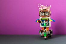 Happy Robot Biker Drives An El...