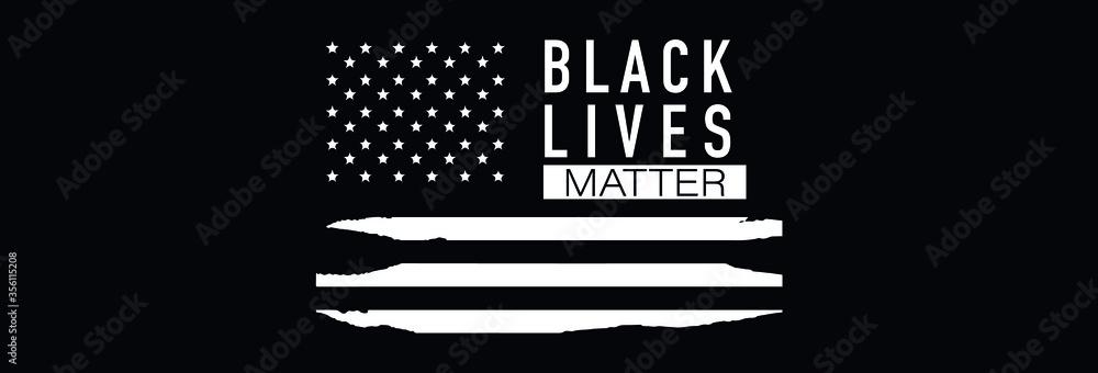 Fototapeta Black Lives Matter. Symbol of American Flag. Equality of races and skin colors