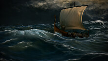 Viking Ship In The Storm