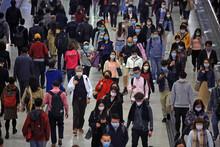 Masked Metro Crowd In Hong Kong