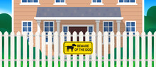 Beware Of The Dog Yellow Sign On White Picket Fence Vector Illustration