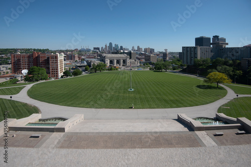 Photo A  panoramic view of Kansas City on a sunny day from the National World War 1 Mu