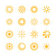 Set of simple abstract minimalistic sun icons
